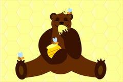 Bear with honey Royalty Free Stock Photos