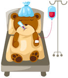 Bear in hospital bed. Illustration of isolated bear in hospital bed on white Stock Images