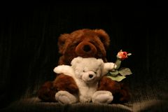 Bear Hug Rose. Two stuffed Bears with Rose Royalty Free Stock Photos