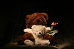 Bear Hug Rose. Two stuffed Bears with Rose royalty free stock photos