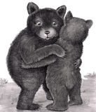 Bear Hug. Two bears hugging out in nature. Two bears are standing up, with arms around each other, giving each other a bear hug outdoors in nature during the day Stock Illustration