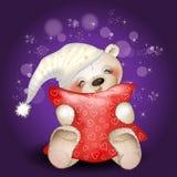 Bear hugging a pillow Stock Photo