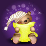 Bear hugging a pillow. In the background of the stars. Vector illustration. The background is purple Royalty Free Stock Photos