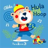 Bear the hula hoop dancer funny animal cartoon,vector illustration royalty free illustration