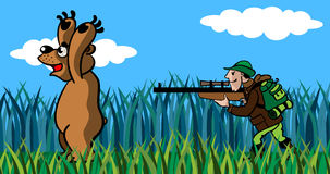 Bear and the hunter. The hunter to aim  from a gun in the big bear, a cartoon Stock Photo