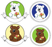 Bear and  ice cream banner Stock Image