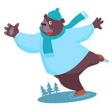 Bear ice skating Stock Photos