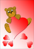 Bear illustration. Happy bears and red heart illustration Royalty Free Stock Photos