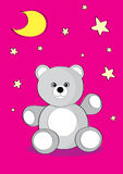 Bear illustration. The vector illustration a bear sits under stars, a bear a children's toy Stock Photography