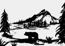 Bear illustration. Mountain bear and forest illustration vector. Mountain range vector illustration