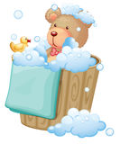 A bear inside the pail full of bubbles Royalty Free Stock Photography