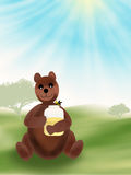 Bear with a jar with honney in his paws Stock Photography