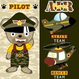 Air Force cartoon vector. Bear the jet pilot, vector cartoon illustration, no mesh, vector on  EPS 10 Royalty Free Stock Photography