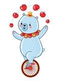 Bear juggles apples illustration. Royalty Free Stock Photography