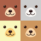 Bear Kawaii Cartoon In Different Colors Set Cute Icon. Bear Animal Flat Isolated Design Vector Illustration Stock Stock Images