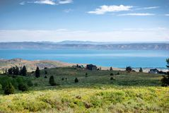 Bear Lake at the border Utah - Idaho. Bear Lake or jokingly also called Caribbean of the Rockies situated at the border of Utah and Idaho, USA stock image