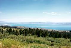 Bear Lake at the border Utah - Idaho. Bear Lake or jokingly also called Caribbean of the Rockies situated at the border of Utah and Idaho, USA royalty free stock photography