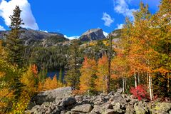 Bear Lake Landscape In Rocky Mountain National Park Stock Image