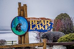 Bear lake michigan welcome park sign in march 2017 Stock Photography
