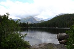 Bear Lake and reflection with mountains, Rocky Mountain National Park in Colorado,. USA royalty free stock images