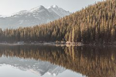 Bear Lake, Rocky Mountains, Colorado, USA. Bear Lake and reflection with mountains in snow around at autumn. Rocky Mountain National Park in Colorado, USA Royalty Free Stock Image