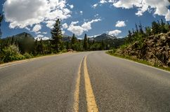 Bear Lake Road in Rocky Mountain National Park. Asphalt road bends in Rocky Mountain National Park stock images