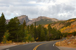 Bear Lake Road in Rocky Mountain National park. The road leading to Bear Lake in Rocky Mountain National Park outside of Estes Colorado royalty free stock image