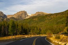 Bear Lake Road winds through Rocky Mountain National Park stock images