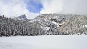 Frozen lake in winter with mountains in background Royalty Free Stock Photos