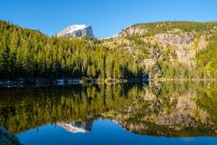 Bear Lake, Rocky Mountains, Colorado, USA. Bear Lake and reflection with mountains in snow around at autumn. Rocky Mountain National Park in Colorado, USA Royalty Free Stock Photo