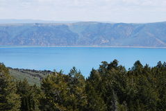 Bear Lake. On the Utah and Idaho line. The vivid blue water is due to a white limestone bedrock Stock Photos
