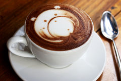 Bear latte art coffee royalty free stock photography