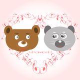 Bear and lemur face in love Royalty Free Stock Images