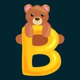 Bear letter with animal for kids abc education in preschool. Bear animal and letter for kids abc education in preschool.Cute animals letters english alphabet Stock Photos