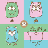 Bear line simply tshirt. This illustration is drawing and design simply bear line with pastel colors in square background royalty free illustration