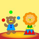 Bear and lion cub perform in the circus. Cartoon funny bear and lion cub perform in the circus. Vector illustration for children Royalty Free Stock Image
