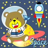 In outer space. Bear the little astronaut going to outer space with a rocket, vector cartoon. EPS 10 vector illustration