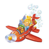 Bear and the little girl travel by plane. Bear the pilot and the little girl travel by plane. A greeting or invitation card on birthday or a holiday. Raster vector illustration