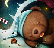 Bear. Little bear sleeping in the den, sucking candy. Computer graphics Stock Photos