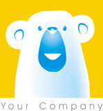 Bear logo. A polar bear logo with a yellow square stock illustration