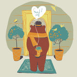 Bear in love on the doorstep of his beloved. Royalty Free Stock Photos