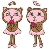 Bear love flower Stock Image