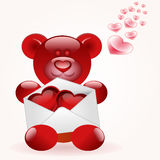 Bear with love letter Royalty Free Stock Images