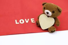 Bear and  with love letter on white background Royalty Free Stock Images