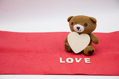 Bear with love letter on white background Stock Photo