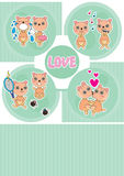 Bear Love Story Card_eps Stock Image