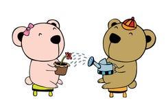 Bear lover. Watering the flower vector illustration cartoon Stock Image