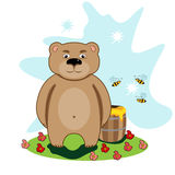 Bear loves honey. Illustration of a bear in a meadow with and barrel honey Stock Images
