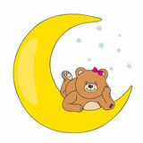 Bear lying on the moon Stock Photo