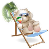 A bear lying sun loungers by the sea Royalty Free Stock Image